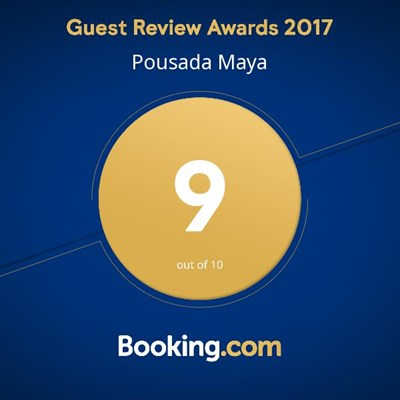 "Pousada Maya won a score 9 on the ""Guest Review Awards"" from Booking.com"